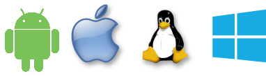Android, iOs (Iphone) Linux et Windows.